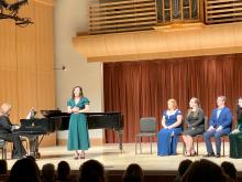 SSU singers performing on stage at the Vocal Repertory Recital