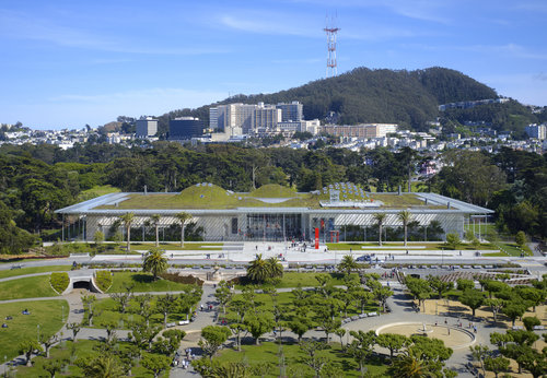 Aerial shot of CA Academy of Sciences