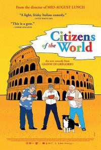 The 'Citizens of the World' film poster featuring a graphic illustration of three people and a dog drinking out of bowls in front of the Roman Colosseum