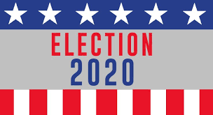 "Graphic of red, white, and blue stars are stripes with the words ""Election 2020"""