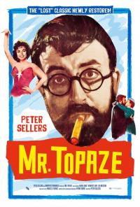 Movie poster for Mr. Topaze featuring a portrait of a man with circular glasses, a beard, and a cigarette in his mouth