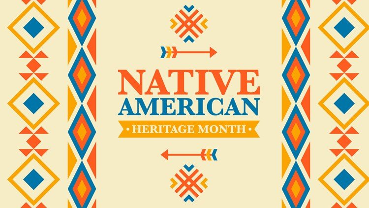 "Blue, orange, and yellow patterns surrounding the words ""Native American Heritage Month"""