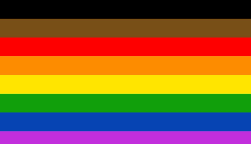 The LGBTQIA flag, featuring the colors brown, black, red, orange, yellow, green, blue, and purple