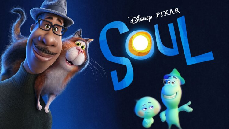 Artwork from the movie 'Soul' featuring an animated person smiling with a cat on their shoulders