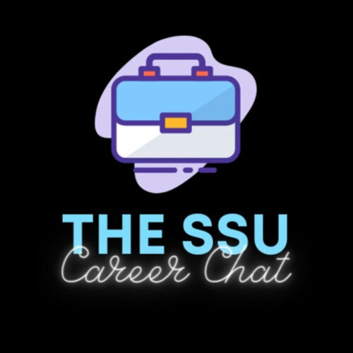 "Graphic of a blue briefcase with the words ""The SSU Career Chat"" beneath it"