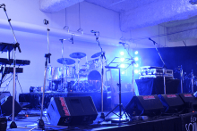 Stage with instruments