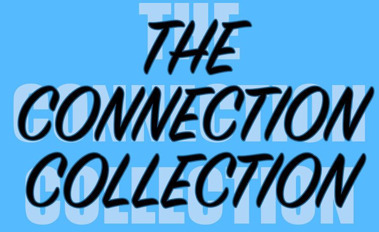 """The words """"The Connection Collection"""" in black on a blue background"""