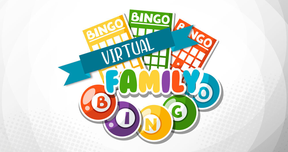 A graphic illustration of colorful BINGO cards and balls with the words 'Virtual Family Bingo'