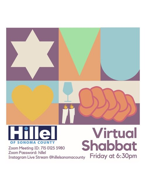The colorful flyer for the Virtual Shabbat event happening on Sept. 10 2021 at 6:30pm