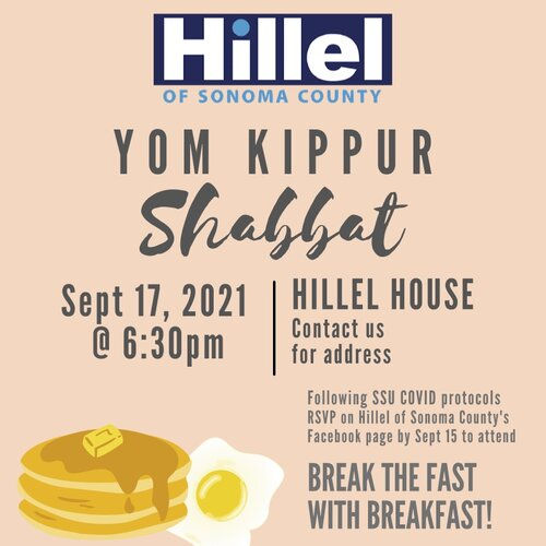 The flyer for the Yom Kippur event happening on Sept. 17 at 6:30pm featuring an illustration of a stack of pancakes and a fried egg
