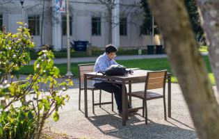 Sonoma State student reading at table