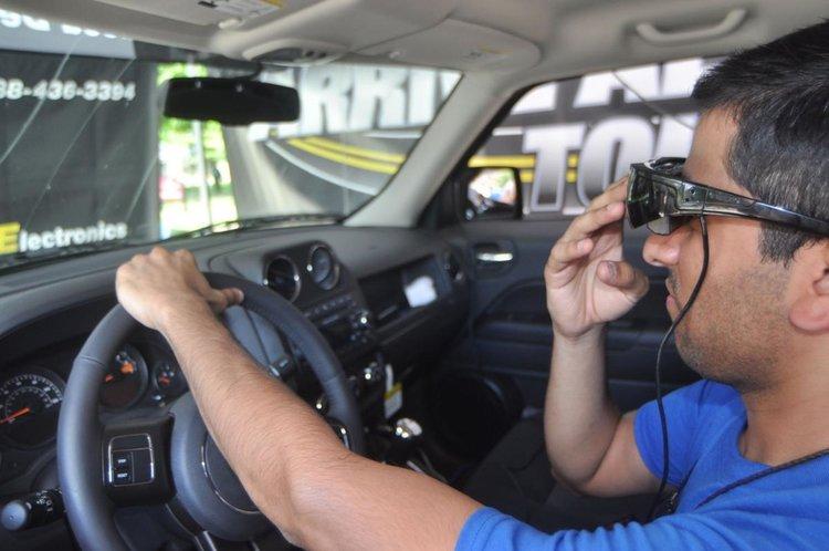 Person driving in simulator