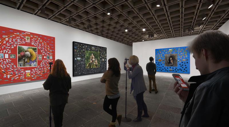 People looking at art
