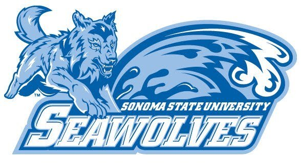 """Graphic of blue Athletics Seawolf leaping over the words """"Sonoma State University Seawolves"""""""