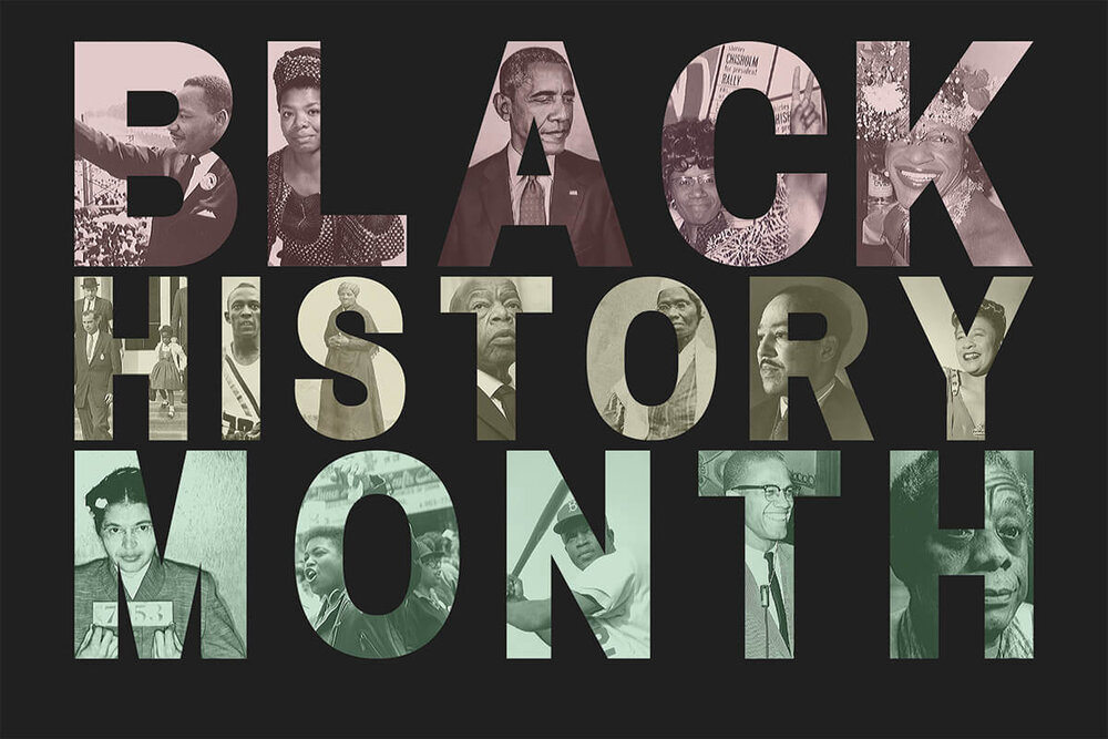 The words 'Black History Month' with images of historical figures inside of the letters in front of a black background