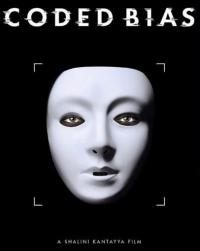 The 'Coded Bias' film poster featuring a white mask with crop marks around it in front of an all-black background