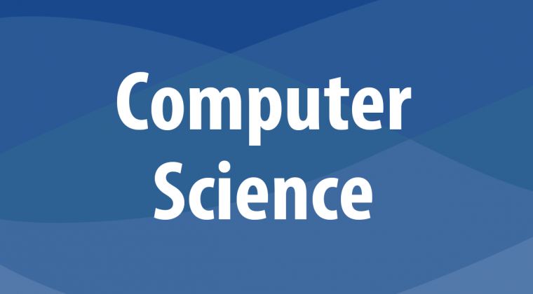The words 'Computer Science' in white in front of a wavy blue background