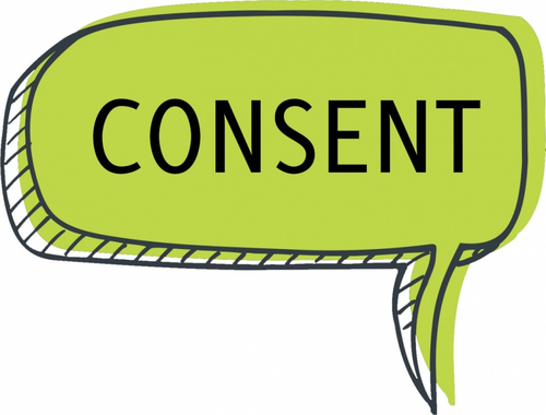 speech bubble that says consent