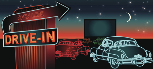 Graphic of a drive-in