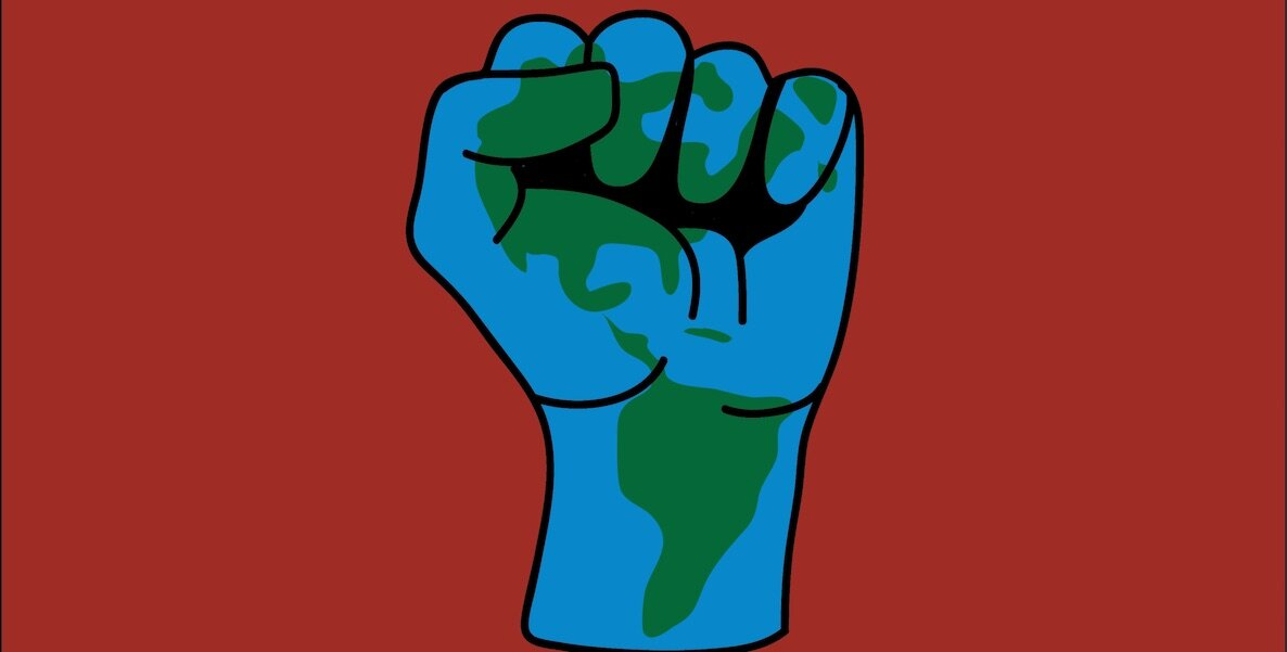 A graphic illustration of a raised fist with earth's continents inside of it