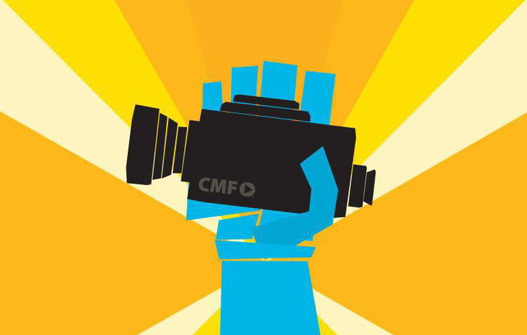 Graphic of a blue hand holding a black video camera with a radiating orange pattern in the background