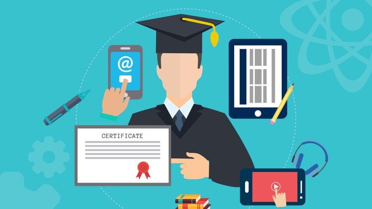 A graphic illustration of a graduate pointing to their diploma in front of a blue background