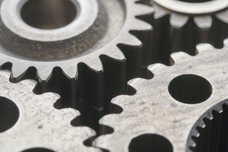 Close-up image of interlocked gears