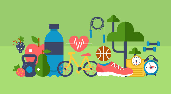 A graphic illustration of health and wellbeing icons including a water bottle, fruit, trees, a bicycle, a heart, and sports equipment.