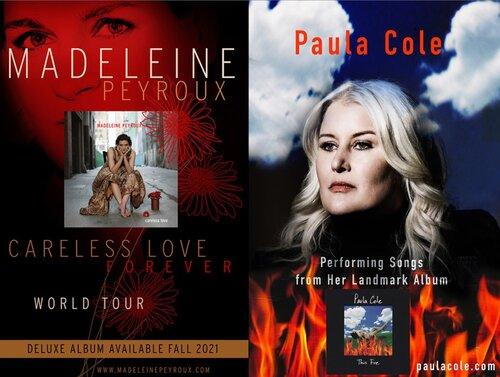 Mirrored Madeleine Peyroux and Paula Cole portraits and album covers