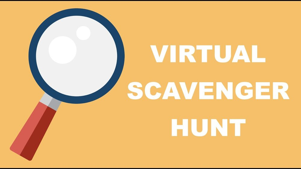 "A graphic illustration of a magnifying glass in front of an orange background featuring the words ""Virtual Scavenger Hunt"""
