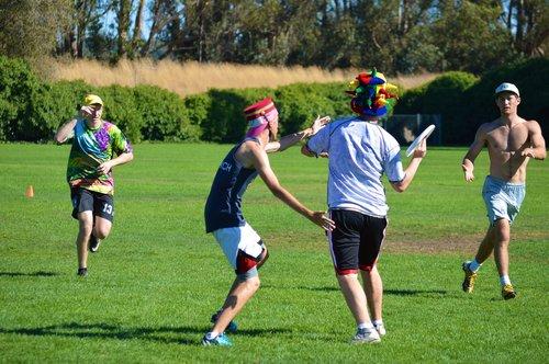 men playing frisbee