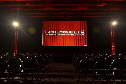 Theater that says Campus MovieFest