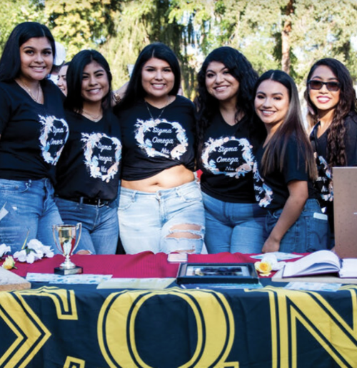 A line of six sorority members smiling while wearing sorority t-shirts
