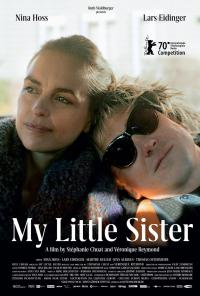 The 'My Little Sister' film poster featuring two people leaning on each other and grinning