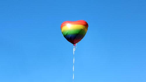 Rainbow heart shaped balloon