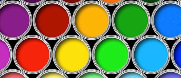 Colorful paints in cans