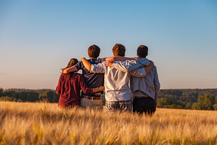 The backs of a group of four people with their arms around each other in a field of tall grass