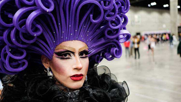 Person with purple hair
