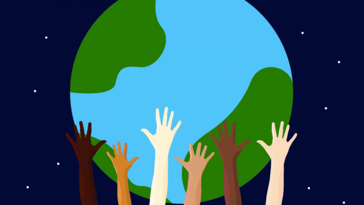A graphic illustration of several hands of different skin tones holding up the earth.