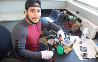 Engineering student Jesus Gonzalez joined the EdgeCube team within the past year and was responsible for making sure the hardware of the cube was working properly.