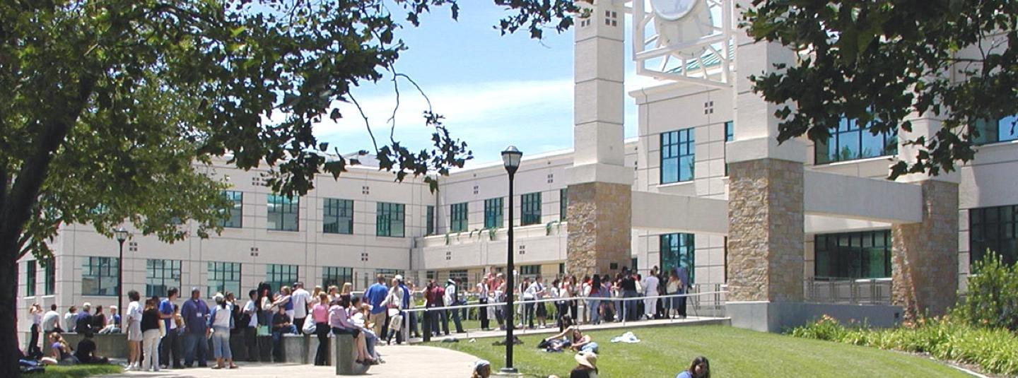 Students in front of the Library Clocktower