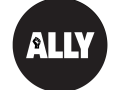 A graphic of a black circle with the word 'Ally' in it as well as a raised fist