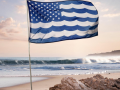 Blue and white American flag