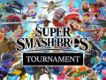 A graphic illustration of Super Smash Bros characters batting behind the words 'Super Smash Bros Tournament'